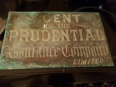 "Vintage Brass/copper  Wall Plaque For ""the Prudential Assurance Co Ltd """