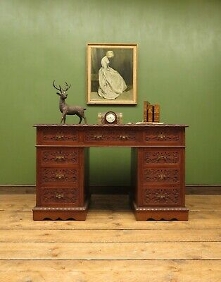 Superb Victorian Solid Oak Desk with Carvings and Leather Top
