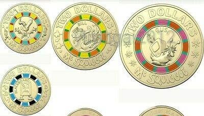 2019 Mr Squiggle 4 x $2 Coloured Uncirculated Coin Set