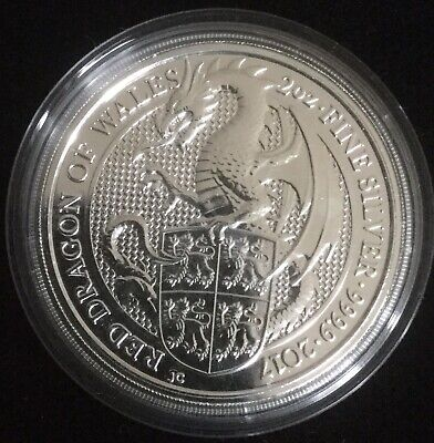 Queen's Beasts The Red Dragon of Wales 2 oz Silver Great Britain 2017