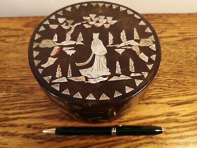 Super Oriental Circular Mother Of Pearl Inlaid Lacquered Table Box