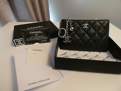 d672ac490f17 CHANEL Classic Zipped Coin Purse. Black Leather Caviar And Silver Logo  Brand New