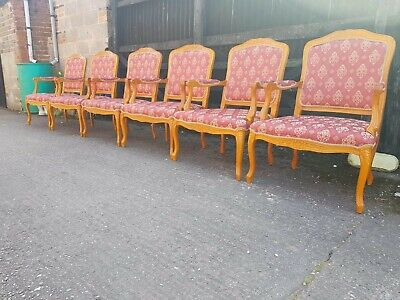French Louis Style Carved Chairs / Armchairs x6