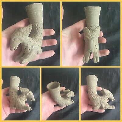 Rare ancient Persian Terracotta rhyton vessel with rams head c4th ad