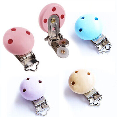 5 X Baby Pacifier Clip Safety Wooden Teeth Accessories Soother Clasps Holders