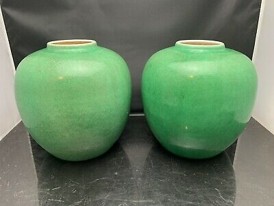 Pair Big Antique Chinese Porcelain Green Ge Jar Chenghua Mark But Qing Dynasty