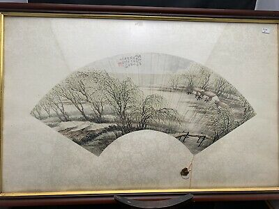 Rare Chinese Antique Fan Pics With Signed 周子京Framed 19th Century