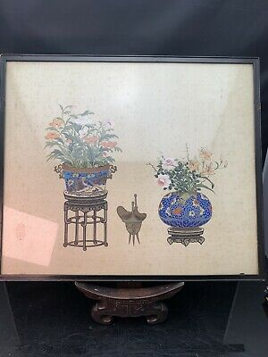 Rare Chinese Antique Silk QingGong Framed 19/20th Century Signed
