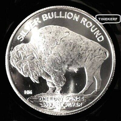Standing Buffalo  Indian Head  {Unc}  1  Troy Oz .999  Fine Silver Bullion Round