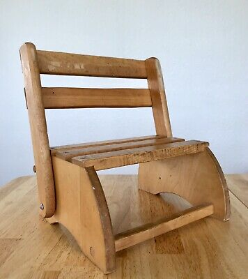 Vintage Wooden Wood Brown Toddler Preschool Folding Stool Chair Farmhouse Decor
