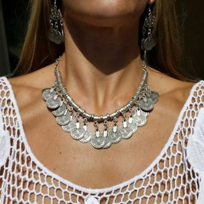 HOT Boho Ethnic Tribal Coin Necklace Free Gypsy People Coachella Goddess Jewelry