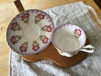 Vintage Footed Cup & Saucer Bone China ROYAL ALBERT Purple Wild Rose Gold 4469