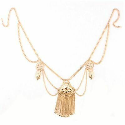Fashion Ethnic Waist Sequins Gold Plated Jewelry Tassel Belly Belt Body Chain