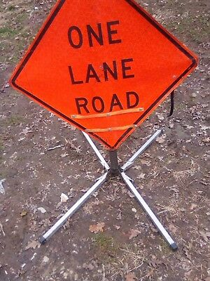 One Lane Road Ahead Reflective Sign