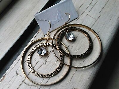 bbbe4c1cc NEW GUESS SILVER Tone,Two Half Circles,Round,Hoop Women's Earrings ...