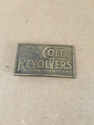 Vintage Colt Revolvers The World's Right Arm Belt Buckle Western Firearms Brass