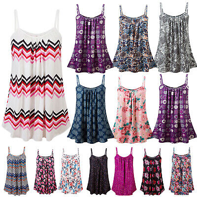 Womens Ladies Cami Sleeveless Swing Vest Tops Strappy Printed Flared Plus Size