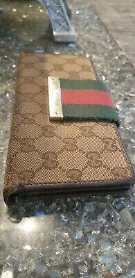 37f7a0ce3e9 AUTHENTIC VINTAGE GUCCI Wallet (Tan Fabric   Red Genuine Leather ...