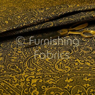 Sound Wave Pattern Lightweight Chenille Yellow Black Upholstery Curtain Fabric