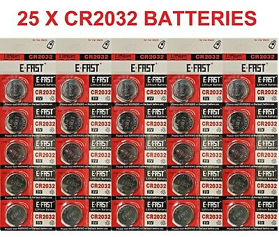 25 x CR2032 BR2032 DL2032 Branded 3V LITHIUM Coin Cell Button Batteries