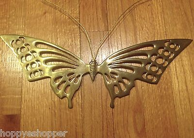 "Large 15x5"" Brass Butterfly Wall Decor Vintage India"