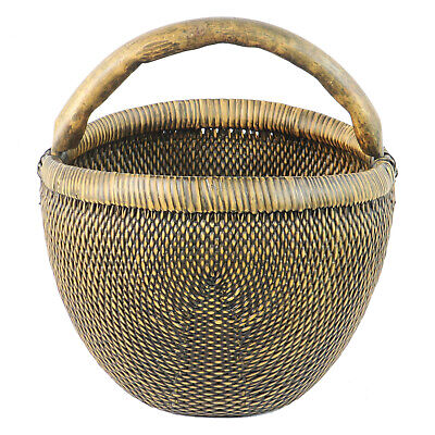 "Vintage Chinese Rattan Apple Field Basket with Wood Handle, 17"" Wide, 18"" Tall"