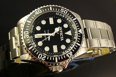 Invicta Mens 43Mm Swiss Diver  Master Of Oceans Submariner Style W Black Dial