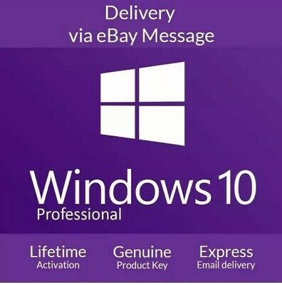 Microsoft Windows 10 Pro Professional 32/64 Bit Genuine Licence Key 3min Dellivr