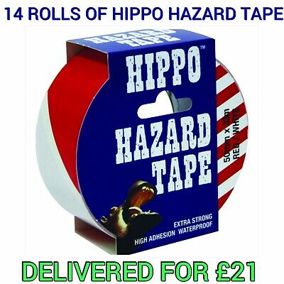 HIPPO hazard Tape 50mmx33m RED / WHITE Self Adhesive 14 ROLLS FREE DELIVERY!