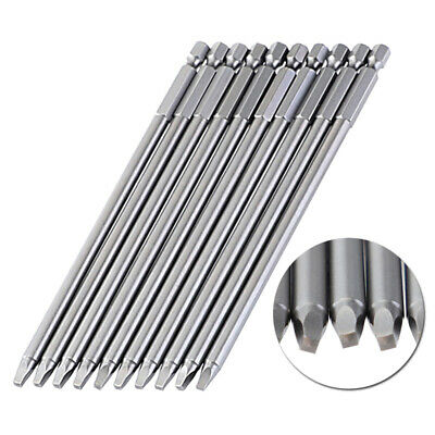 10pcs 150mm SQ2 Square Driver Bit Screwdriver Bits Set S2 Steel 1/4 Inch Hex Sha