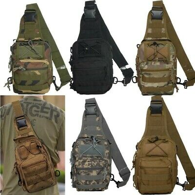 Mens Heavy Duty Crossbody Pack Tactical Military Style Travel Hiking Camping Bag