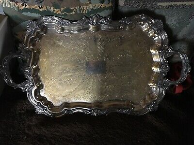 """Serving Tray Birmingham Silver Co. Plated Footed Serving Plate Ornate 24"""" 1950's"""