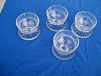 """Waterford Crystal *lismore* ( Lot Of 4 )  Footed Dessert Bowls 3"""""""