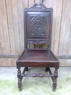 Splendid 17th century demon bat carved oak Wainscot chair Anglesey North Wales
