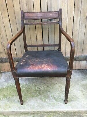 George III Carved Oak Library Desk Chair 18th Century Georgian Dining Armchair
