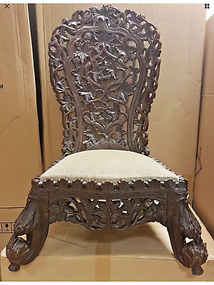 Carved Victorian Anglo Indian Chair Foliate Fruit Leaves Flowers 19th Century