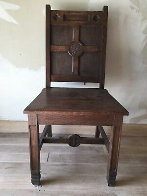 Good Victorian 19th Century Oak carved church priest sidesman ecclesiastic chair