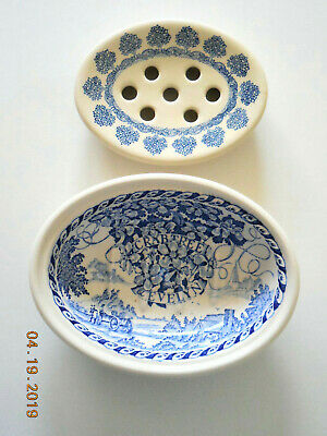 2-piece Mason's CRABTREE & EVELYN SOAP DISH  Blue Ironstone  Made in England