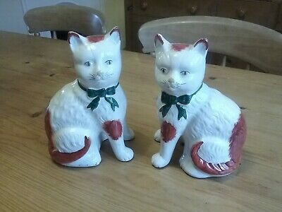 Large vintage pair of china mantel cats, ginger and white