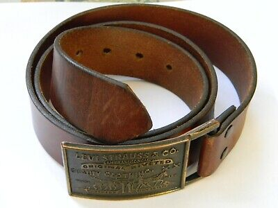 Vintage Levi Strauss & Co Belt Cintura Brown Con  Fibbia Anni'70