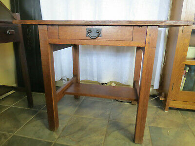 Antique Gustav Stickley No 649 Single Drawer Library/Lamp/Side Table/Stand/Desk