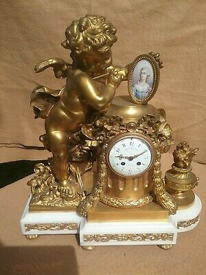 Vincenti Cie Clock Large  mon colin bronze mantel clock french sevres plaque
