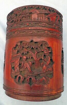 **EXQUISITE Fine Carved  Antique 19C  Chinese Tea Caddy Wood Wooden Box TREEN