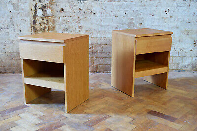 Pair of Vintage Mid Century Oak Bedside Tables Made By Meredew