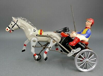 Vintage Art Deco German DPa Tin & Composition Wind Up Arabian Horse & Buggy Toy