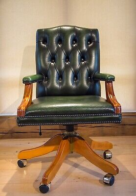 Gainsborough Swivel Office Chair - Antique Green Leather With Solid Yew Frame