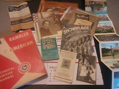 Junk Drawer Lot Of Vintage Items Theatre Guides Postcards Coin Savers Manuals
