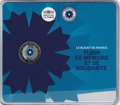 2 euros commemorative France 2018 Bleuet de France Coincard BU