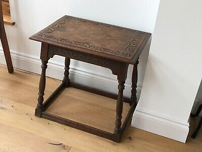 Jacobean Style Decorative Occasional Table In Solid Oak. Good Cond.