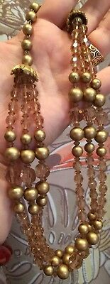 Vintage Gold Necklace Champagne Color Glass Beading Filigree MID CENTURY COST